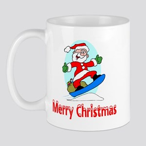 Santa Boards Merry Christmas Mug