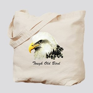 Tough Old Bird Quote with Bald Eagle Tote Bag