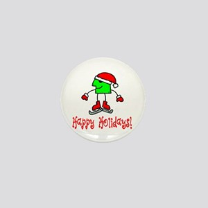 Skate Critter Happy Holidays Mini Button