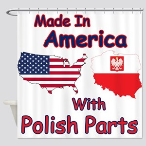 America With Polish Parts Shower Curtain