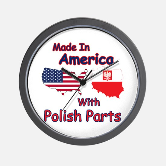 America With Polish Parts Wall Clock