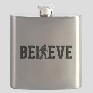 Believe Sasquatch Bigfoot Flask