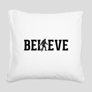 Believe Sasquatch Bigfoot Square Canvas Pillow
