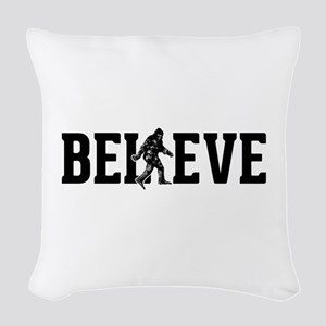 Believe Sasquatch Bigfoot Woven Throw Pillow