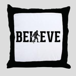 Believe Sasquatch Bigfoot Throw Pillow