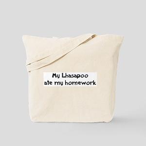 Lhasapoo ate my homework Tote Bag