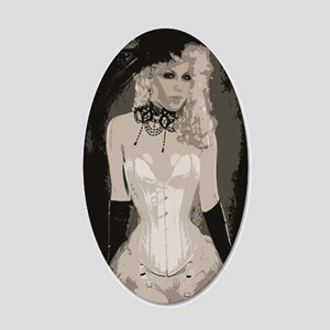 Vintage Victorian Corset Art 20x12 Oval Wall Decal