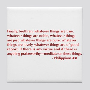 Philippians-4-8-opt-burg Tile Coaster
