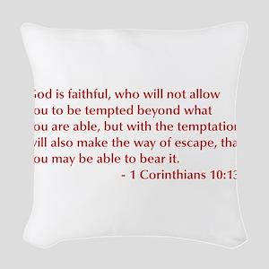 1-Corinthians-10-13-opt-burg Woven Throw Pillow