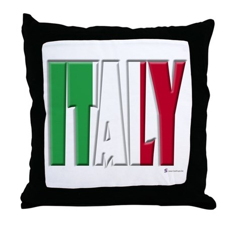 Word Art Flag Italy Throw Pillow By Coolcups