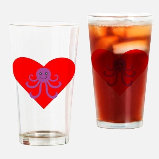 Cartoon Octopus Heart Drinking Glass