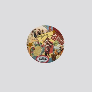 Vintage Western cowgirl collage Mini Button