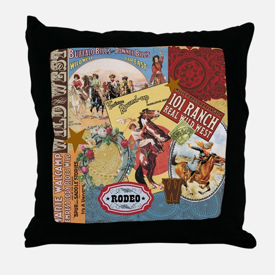 Vintage Western cowgirl collage Throw Pillow