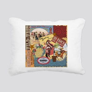 Vintage Western cowgirl collage Rectangular Canvas