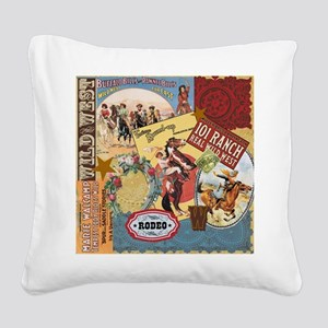 Vintage Western cowgirl collage Square Canvas Pill