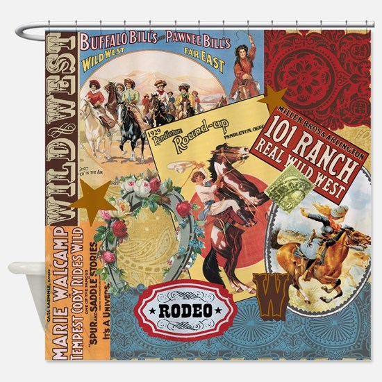 Vintage Western cowgirl collage Shower Curtain