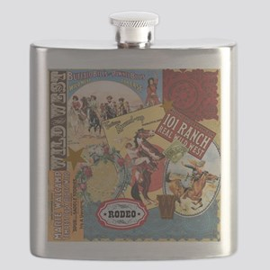 Vintage Western cowgirl collage Flask