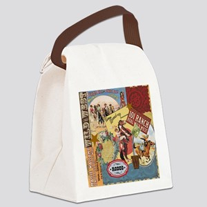 Vintage Western cowgirl collage Canvas Lunch Bag