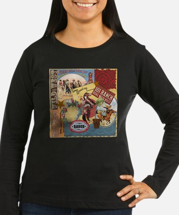 Vintage Western cowgirl collage Long Sleeve T-Shir