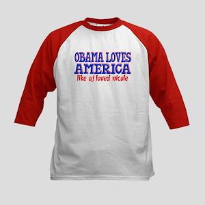 Obama Loves America Kids Baseball Jersey