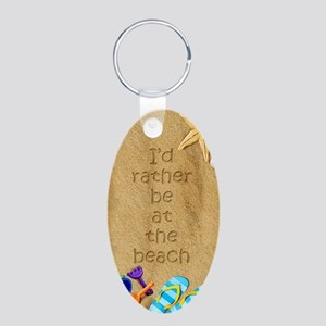 Rather be at Beach Aluminum Oval Keychain
