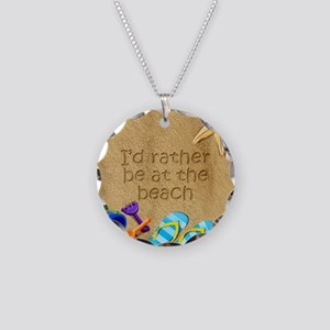 Rather be at Beach Necklace Circle Charm