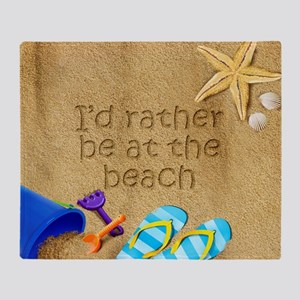 Rather be at Beach Throw Blanket