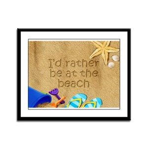 Rather be at Beach Framed Panel Print