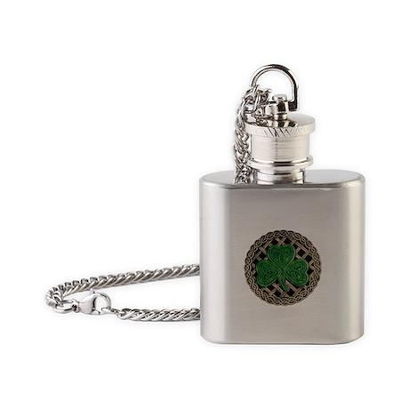 Shamrock And Celtic Knots Flask Necklace