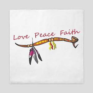 Love,Peace,Faith Pipe Queen Duvet