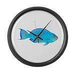 Blue Parrotfish f Large Wall Clock