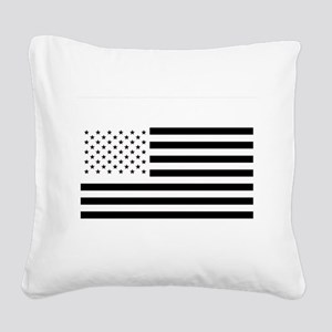 Black and White American Flag Square Canvas Pillow