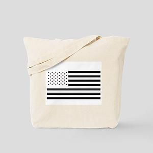 Black and White American Flag Tote Bag