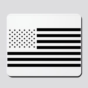 Black and White American Flag Mousepad