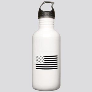 Black and White American Flag Water Bottle