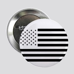"Black and White American Flag 2.25"" Button"