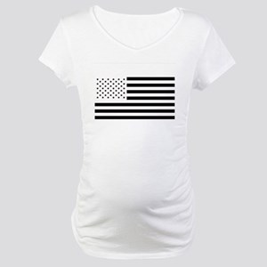 Black and White American Flag Maternity T-Shirt