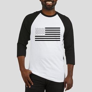 Black and White American Flag Baseball Jersey