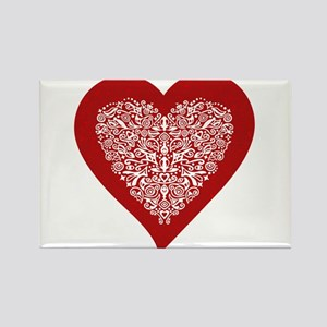 Red sparkling heart with detailed white ornament R