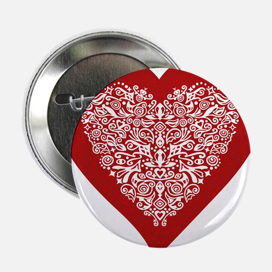Red sparkling heart with detailed white ornament 2