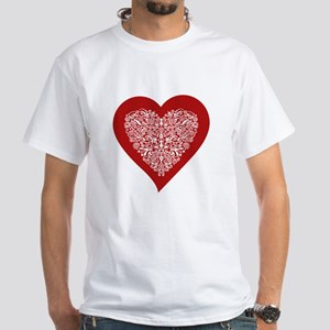 Red sparkling heart with detailed white ornament T