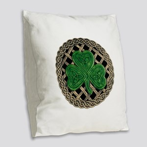 Shamrock And Celtic Knots Burlap Throw Pillow