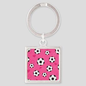 Cute Soccer Ball Print - Pink Keychains
