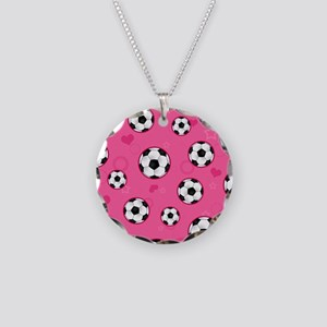 Cute Soccer Ball Print - Pink Necklace
