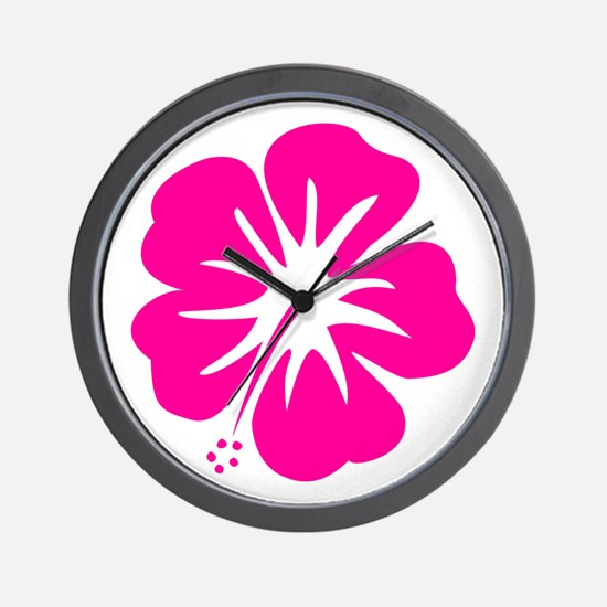 Hot Pink Hibiscus Wall Clock
