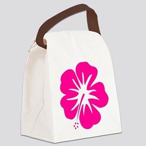 Hot Pink Hibiscus Canvas Lunch Bag
