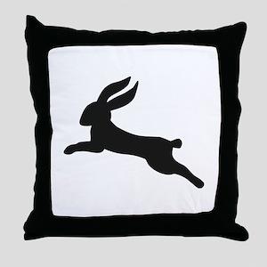 Black bunny rabbit Throw Pillow