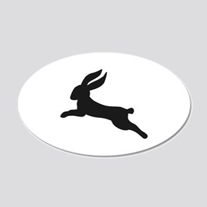 Black bunny rabbit 20x12 Oval Wall Decal