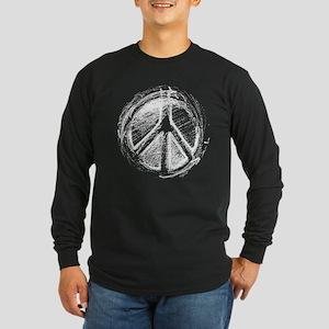 Urban Peace Sign Sketch Long Sleeve Dark T-Shirt