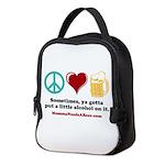 Peace, Love & Beer Neoprene Lunch Bag